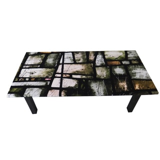 ArtHouse Innovations Greens Stained Glass Suede Upholstered Coffee Table