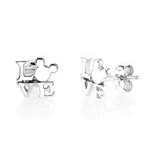 Disney Mickey Mouse Love Sterling Silver Stud Earrings