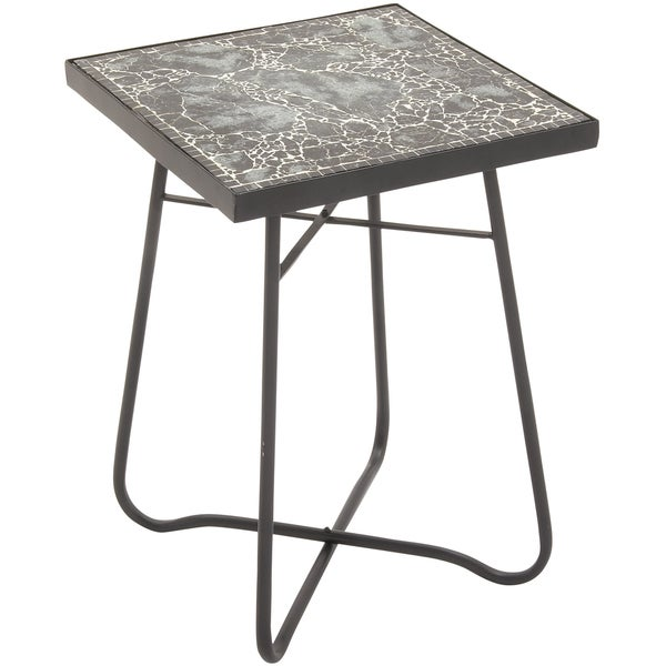 Metal Glass Square Black Side Table