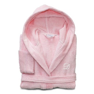 Sweet Kids Turkish Cotton Terry Pretty Pink with White Monogram Hooded Bathrobe