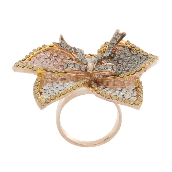 NEXTE Jewelry Stone Encrusted Large Tri-color Iris Flower Ring