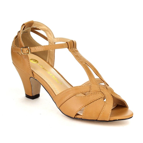 Beston CC00 Women's Peep Toe Mid Heel T-strap Cut-out Sandals