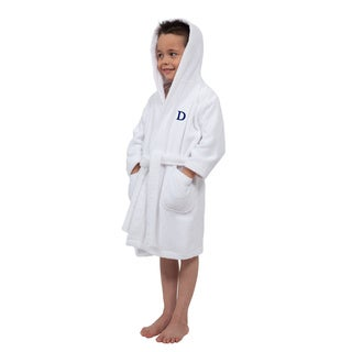 Sweet Kids Turkish Cotton Terry White with Royal Blue Monogram Hooded Bathrobe