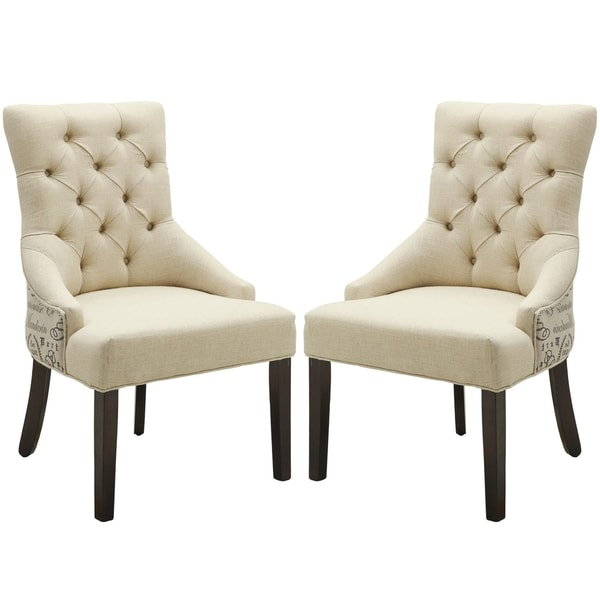 Vaughan Script Design Button Tufted Accent Chair with Nail Head Trim (Set of 2)