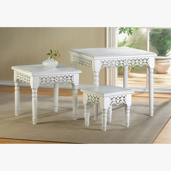 Lacy White 3 Piece Accent Tables