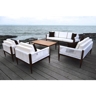 SOLIS Freya Outdoor Deep Seated Brown and White 5-piece Wicker Rattan Patio Sofa Set