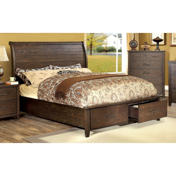 Furniture of america rubio country style espresso platform for Furniture of america bed reviews