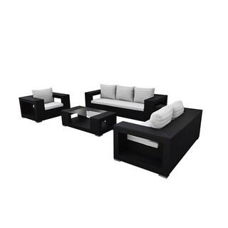 SOLIS Agujero Outdoor Deep Seated Black 4-piece Wicker Rattan Patio Sofa Set