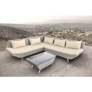 SOLIS Adonis Sectional Outdoor Deep Seated Tan Wicker Rattan and Stainless Steel Patio Set
