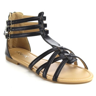 ANNA MAVIS-7 Women Buckle Zip Ankle Cuff Flat Gladiator Sandal (Runs Half Size Big)
