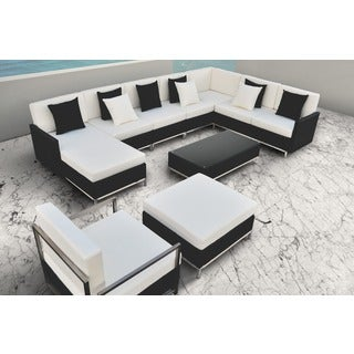 SOLIS Finis Sectional Outdoor Deep Seated Black 8-piece Wicker Rattan and Stainless Steel Patio Set