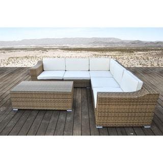 SOLIS San Mateo Sectional Outdoor Deep Seated Light Brown 6-piece Wicker Rattan Patio Set