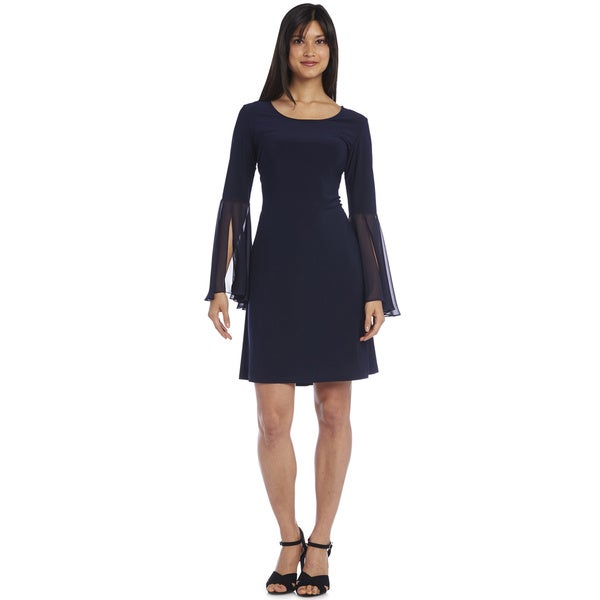 R&M Richards Jersey Chiffon Sleeve Dress 17629790
