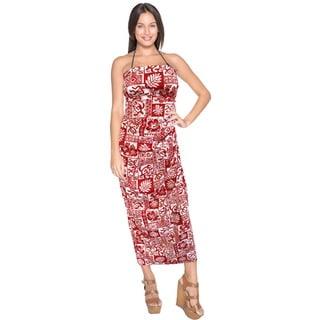 La Leela Super Soft Likre Tropical Caribbaen Beach Sarong Bikini 78X39 Inch Red