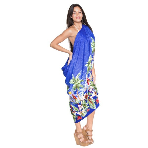 La Leela Likre Beach View Palm Tree Swimsuit Sarong Wrap 78X39 Inch Royal Blue