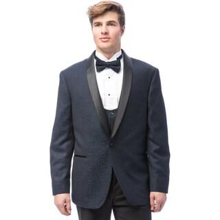 Caravelli Men's Blue Satin Shall Lapel Tuxedo with Self Bowtie