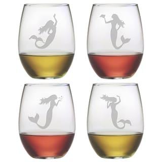 Mermaids Stemless Wine Glasses (Set of 4)