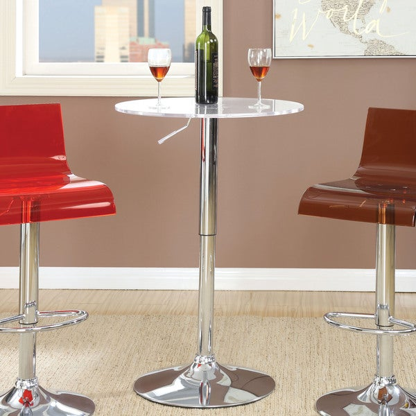 Furniture of America Hermie Contemporary Adjustable Height Chrome/White Bar Table