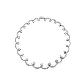 Collette Z Sterling Silver Cubic Zirconia Swirl Necklace