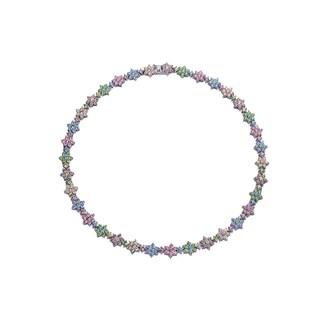 Collette Z Sterling Silver Cubic Zirconia Multicolor Necklace