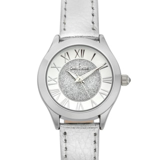 Charles Latour Women's Le Monde Crystal Crown Watch with Leather Strap