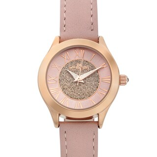 Charles Latour Women's Le Monde Crystal Crown Watch with Pink Leather Strap