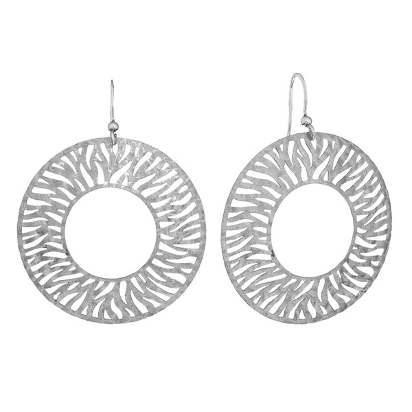 Isla Simone - Silver Tone Circle Disc Etched Earring