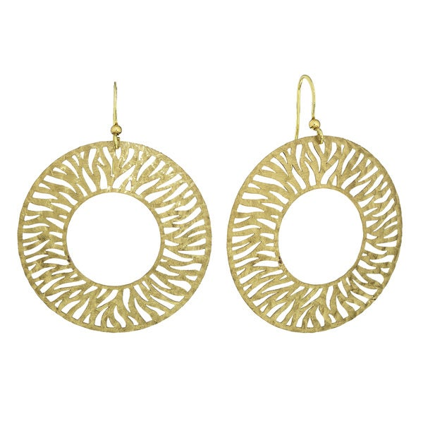 Isla Simone - Gold Tone Circle Disc Etched Earring