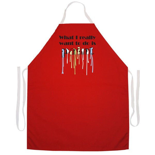 What I Really Want to Do Is Paint' Artist Apron-Red