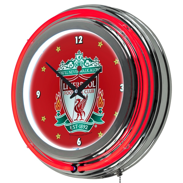 Premier League Liverpool Football Club Chrome Double Rung Neon Clock