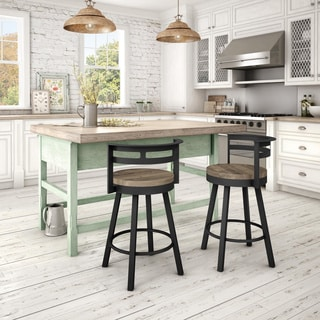 Amisco Vector Swivel Metal Counter Stool With Distressed Wood Seat