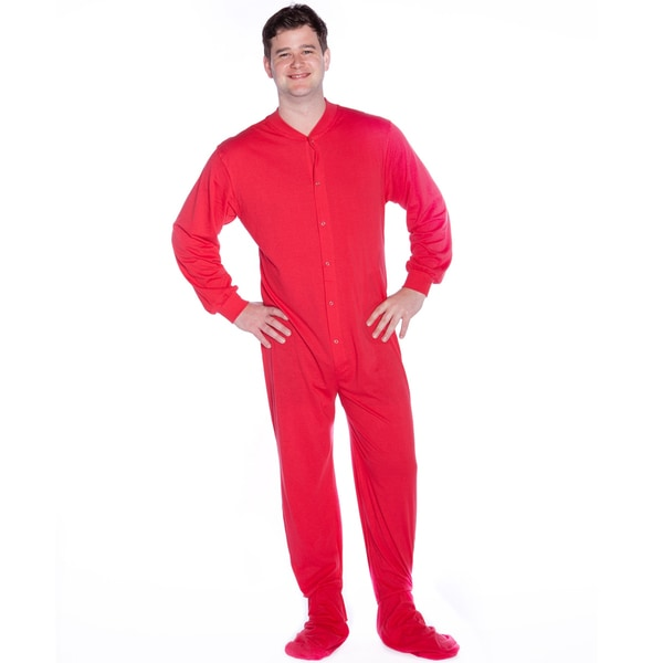 Knit unisex adult onesie footed pajamas with drop seat by big feet pjs