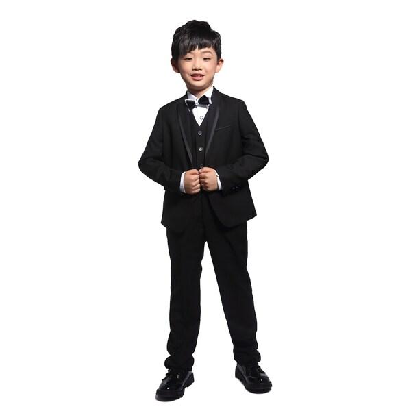 Black 3-piece Tuxedo with Satin Trim for Kids 4 - 14 years