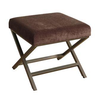 HomePop Upholstered Ottoman with Mink Plush Velvet and Bronze Metal Finish
