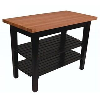 John Boos Cherry 2-shelf Butcher Block Table and Knife Set