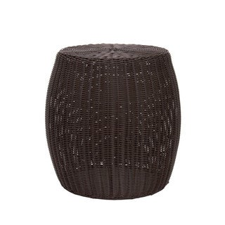 Household Essentials Resin Wicker Barrel Table, Brown