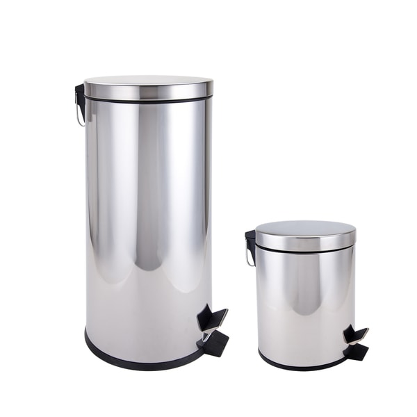 Stainless Steel Kitchen and Bathroom Trash Cans 2-piece Set
