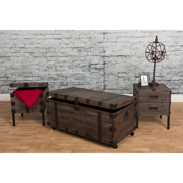 Bombay Reclaimed Weathered Grey 3 Piece Occasional Trunk Table Set 18402876