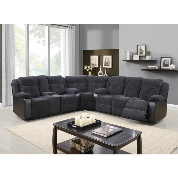 Reclining 3 Piece Jasmine Mouse Grey Sectional 18402868 Overstock Com Shopping Big