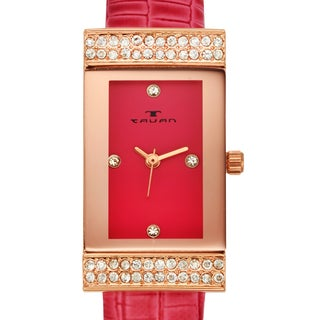 Tavan Women's Sela Austrian Crystal Accented Watch with Pink Leather Strap