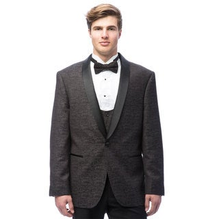Caravelli Men's Grey Satin Shall Lapel Tuxedo with Self Bowtie