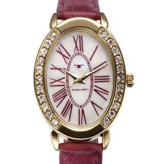 Tavan Women's Jeanne Mother of Pearl Watch with Red Leather Strap