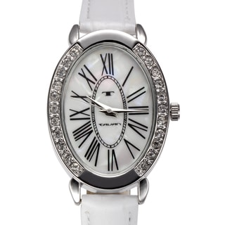 Tavan Women's Jeanne Mother of Pearl Watch with White Leather Strap