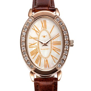 Tavan Women's Jeanne Mother of Pearl Watch with Brown Leather Strap