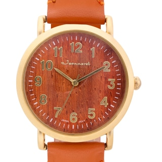 Jeanneret Women's Amelia Light Wood Dial Watch with Brown Leather Strap