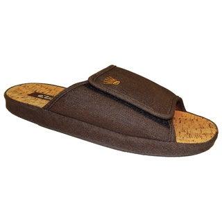 Vecceli Men's Brown Denim Print Slippers