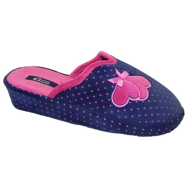 Vecceli Women's Polka Dot Casual Blue Slippers