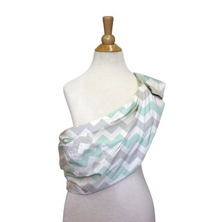 The Peanut Shell Cotton Adjustable Sling in Grey and Mint Chevron Print