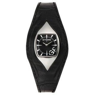 GF Ferre Women's Eyeball Black Leather Stainless Steel Quartz Watch