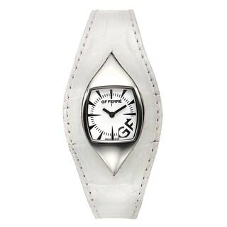 GF Ferre Women's Eyeball White Leather Stainless Steel Quartz Watch